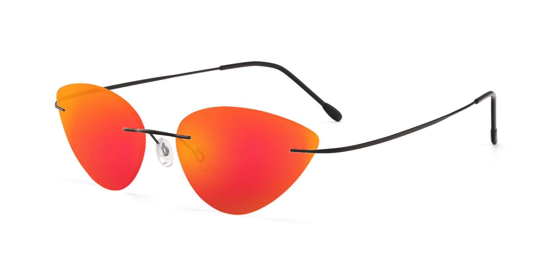 Angle of Pat in Black with Red Gold Mirrored Lenses