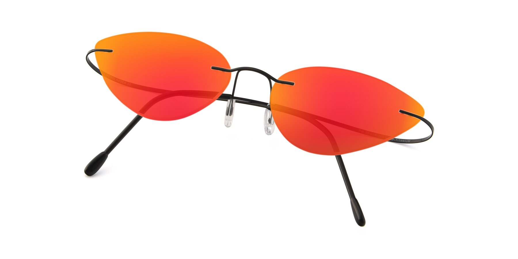 View of Pat in Black with Red Gold Mirrored Lenses