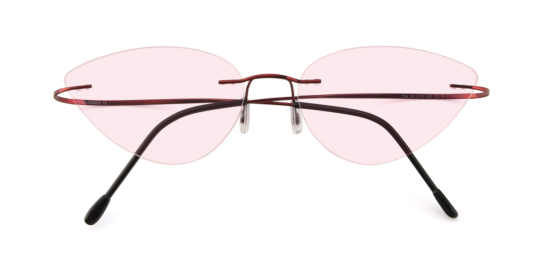 Folded Front of Pat in Wine with Light Pink Tinted Lenses