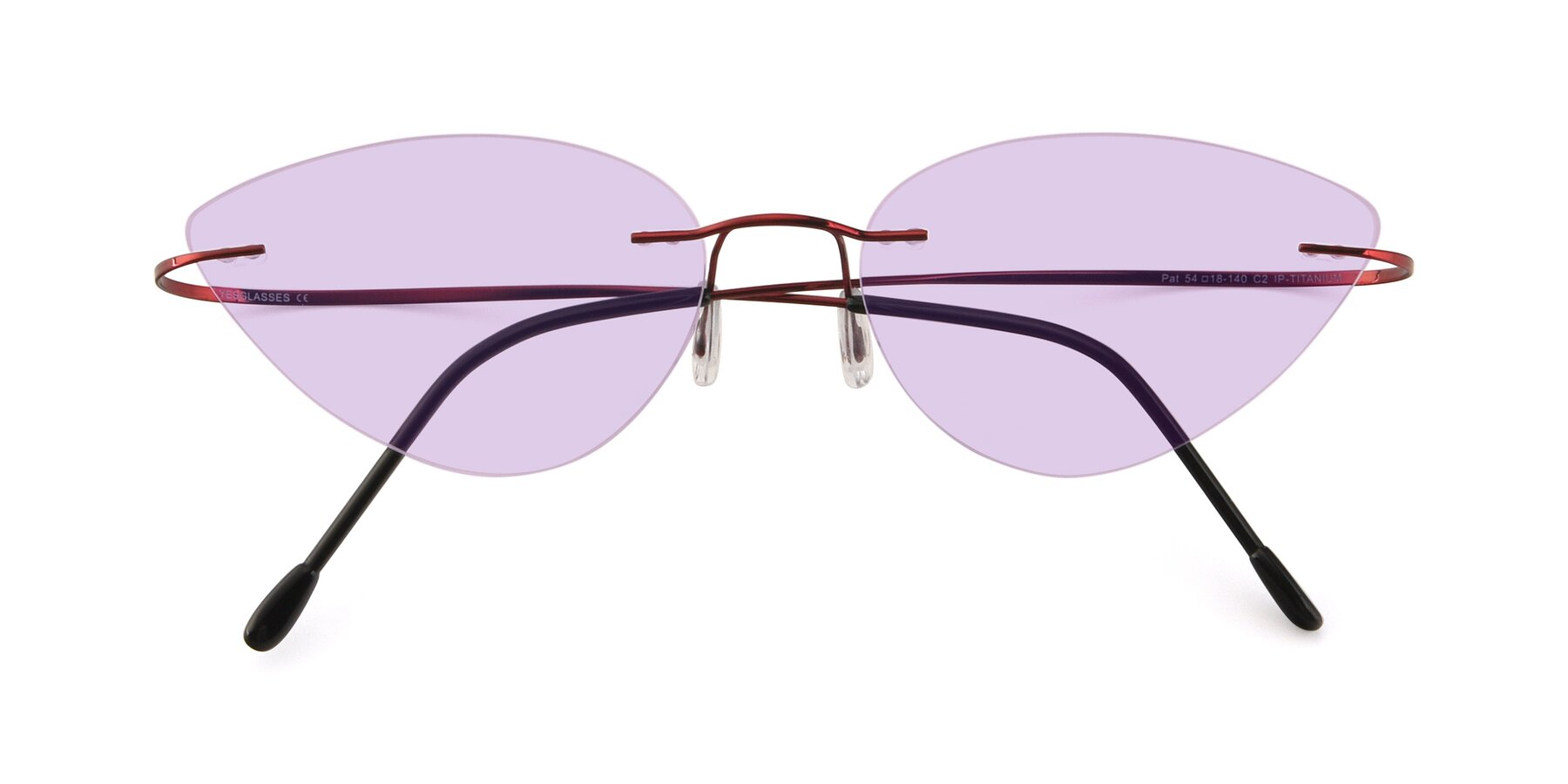 Folded Front of Pat in Wine with Light Purple Tinted Lenses