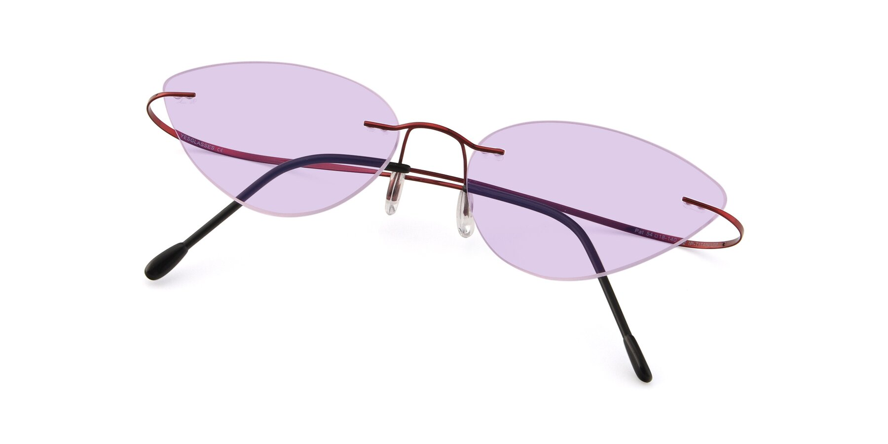 View of Pat in Wine with Light Purple Tinted Lenses