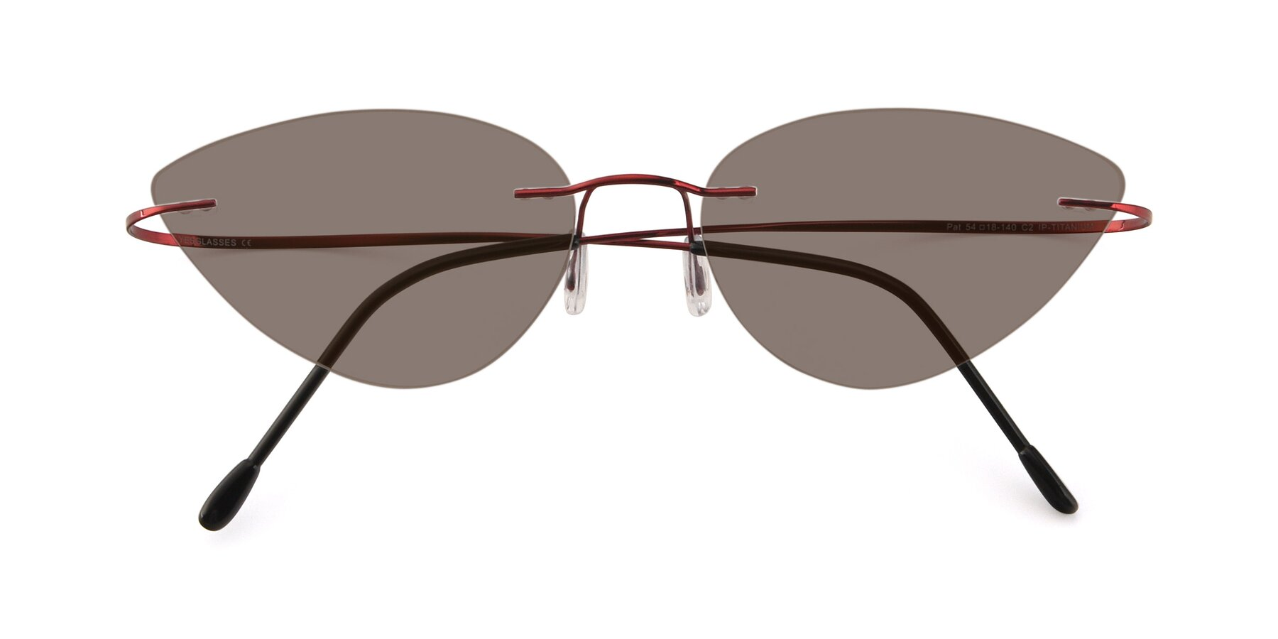 Folded Front of Pat in Wine with Medium Brown Tinted Lenses