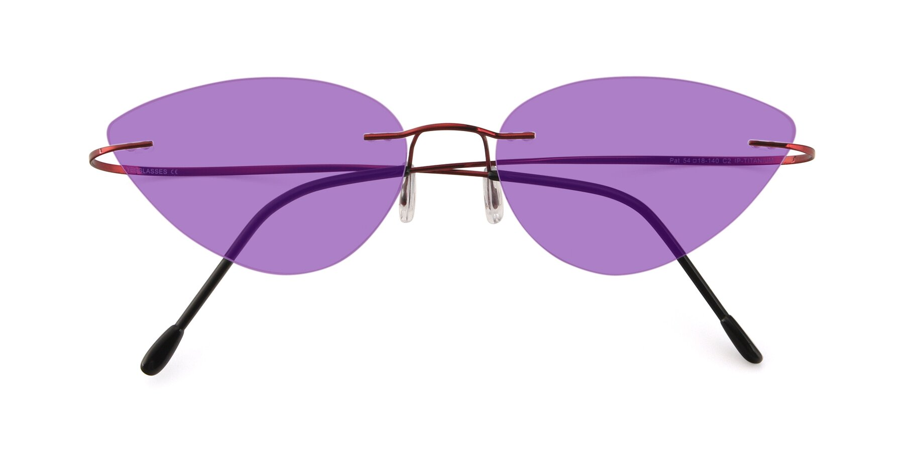 Folded Front of Pat in Wine with Medium Purple Tinted Lenses