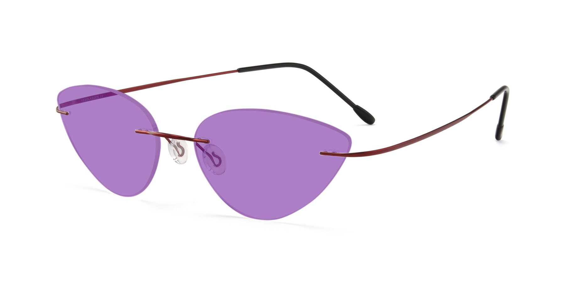 Angle of Pat in Wine with Medium Purple Tinted Lenses