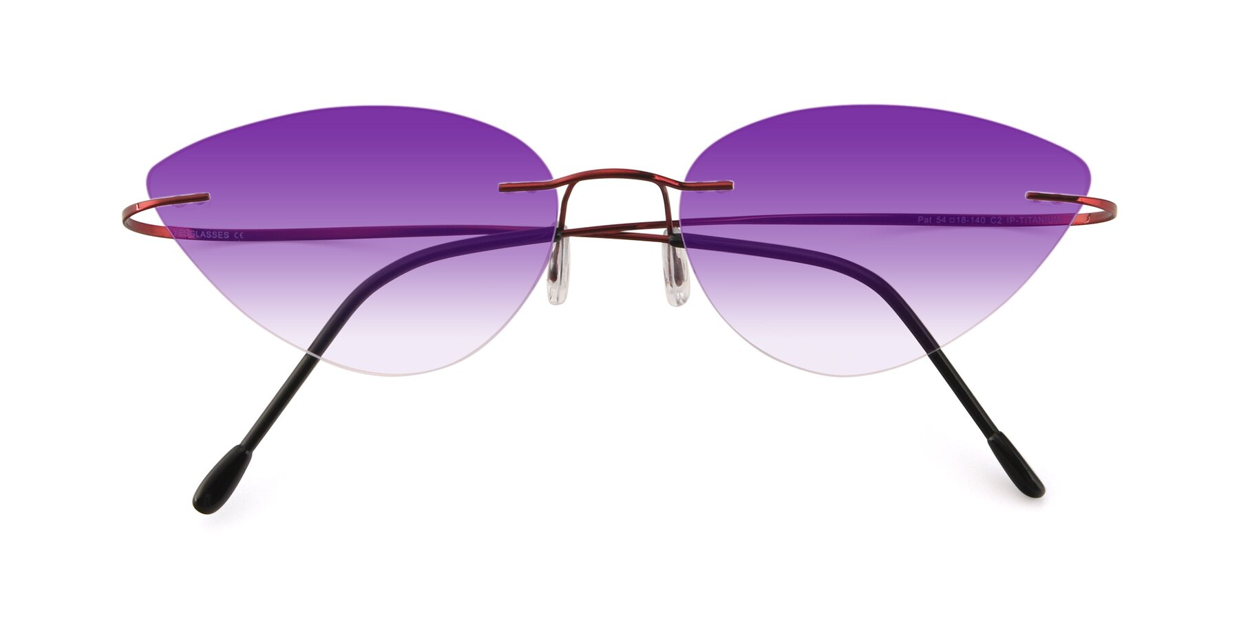 Folded Front of Pat in Wine with Purple Gradient Lenses