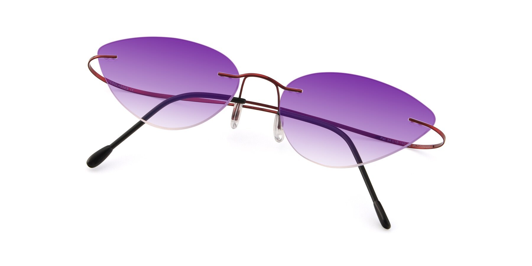 View of Pat in Wine with Purple Gradient Lenses