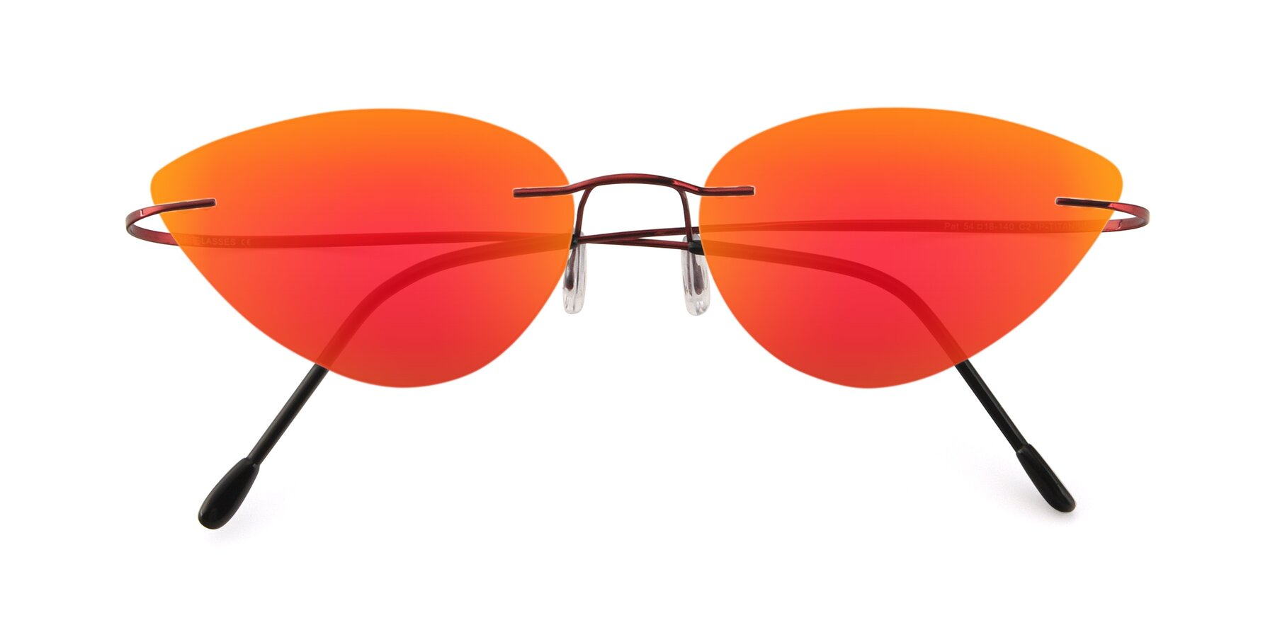 Folded Front of Pat in Wine with Red Gold Mirrored Lenses