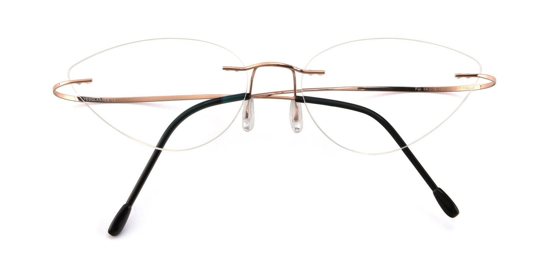 Folded Front of Pat in Rose Gold with Clear Eyeglass Lenses