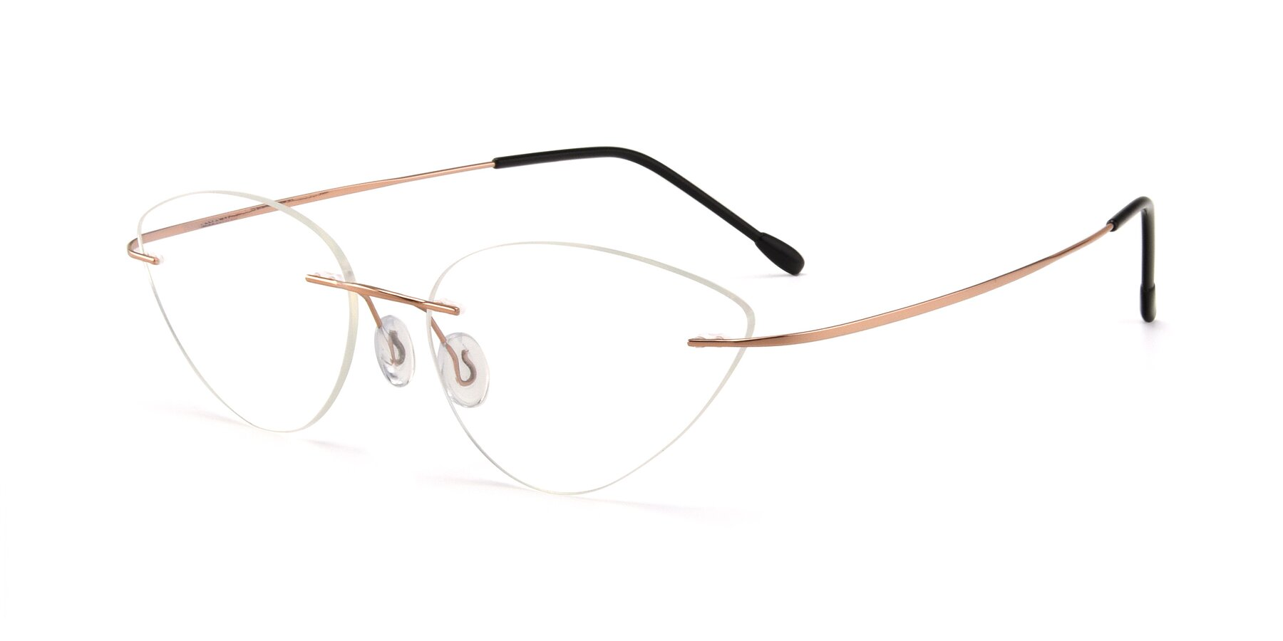 Angle of Pat in Rose Gold with Clear Eyeglass Lenses