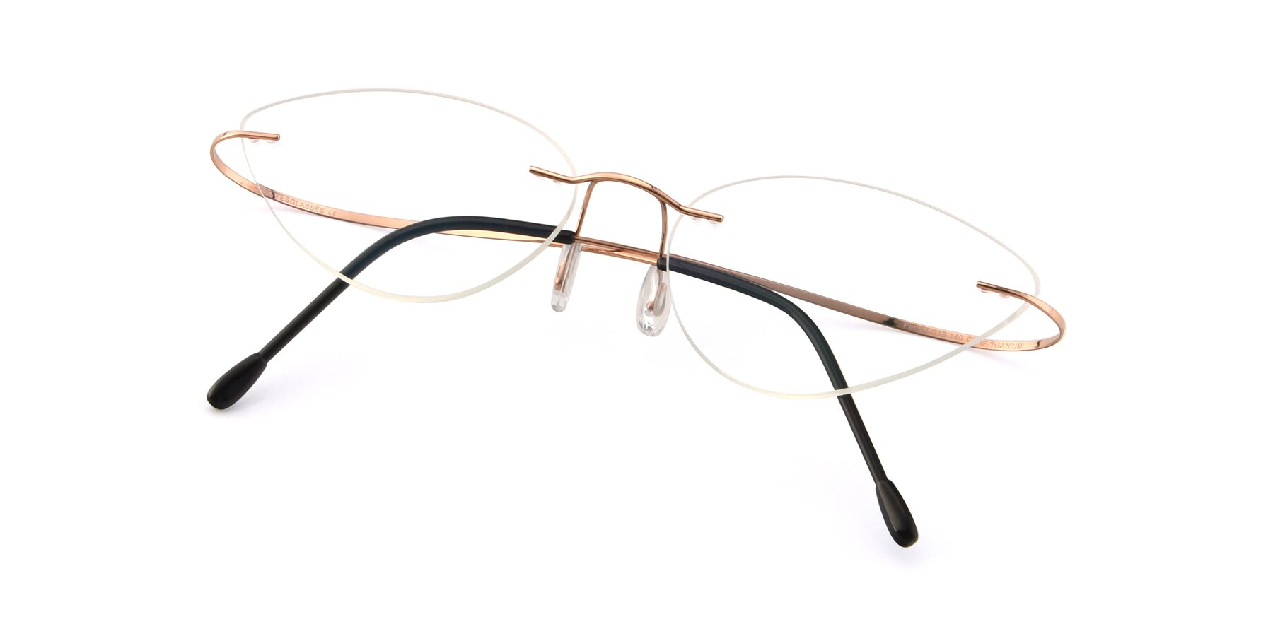View of Pat in Rose Gold with Clear Eyeglass Lenses
