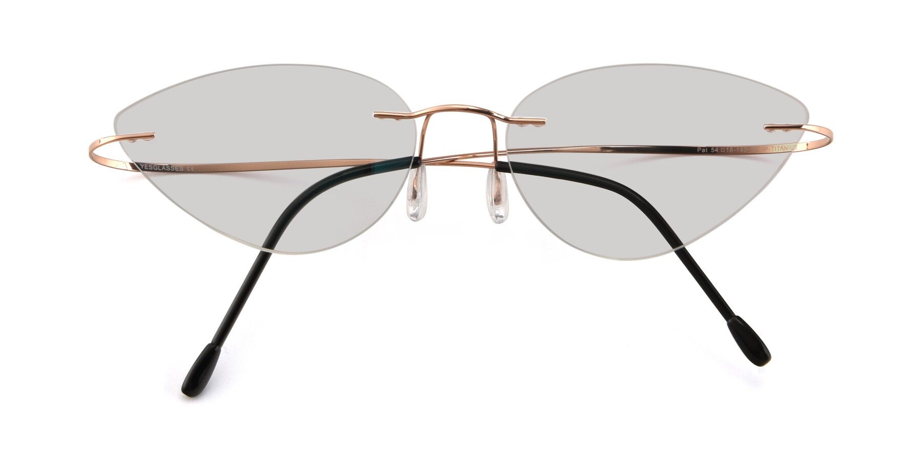 Folded Front of Pat in Rose Gold with Light Gray Tinted Lenses