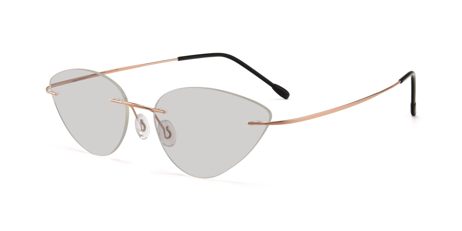 Angle of Pat in Rose Gold with Light Gray Tinted Lenses