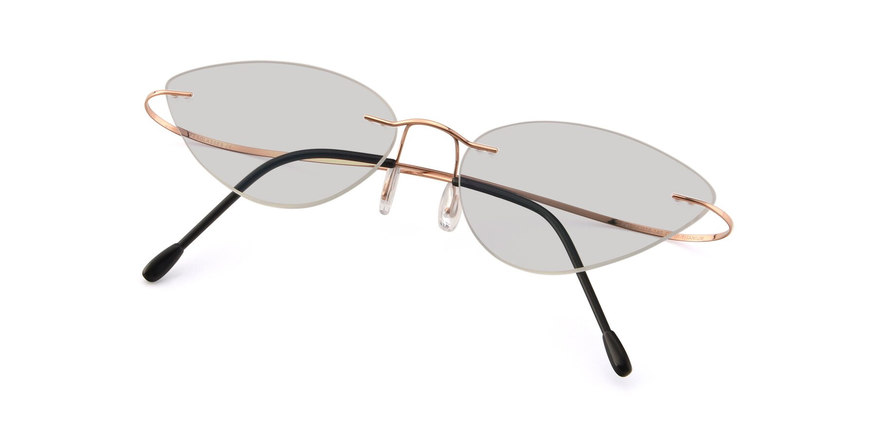 View of Pat in Rose Gold with Light Gray Tinted Lenses