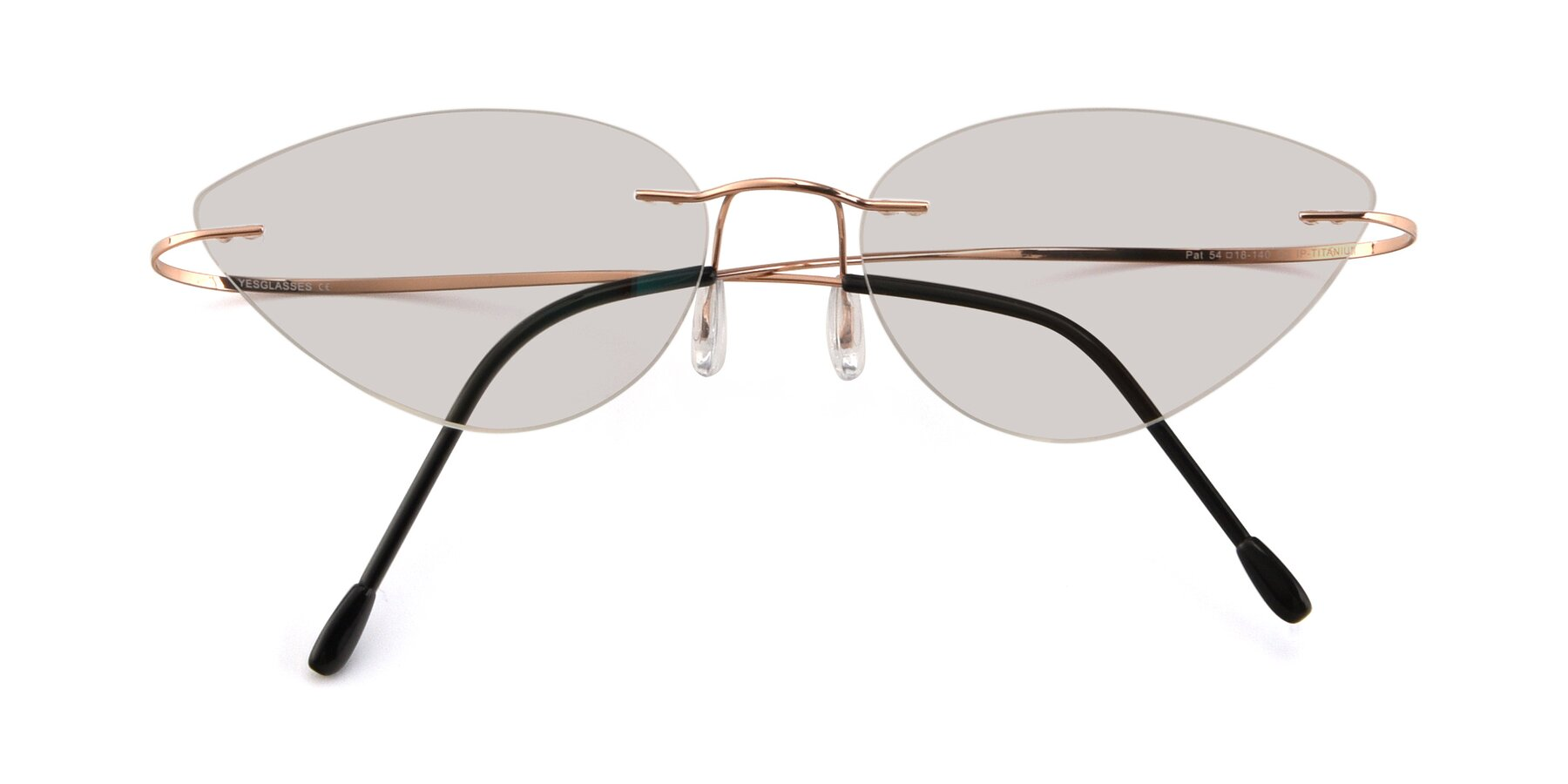 Folded Front of Pat in Rose Gold with Light Brown Tinted Lenses