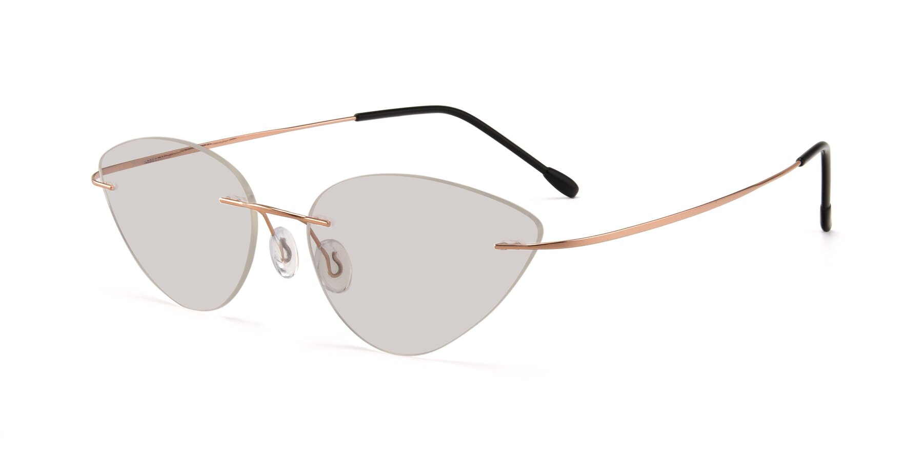 Angle of Pat in Rose Gold with Light Brown Tinted Lenses