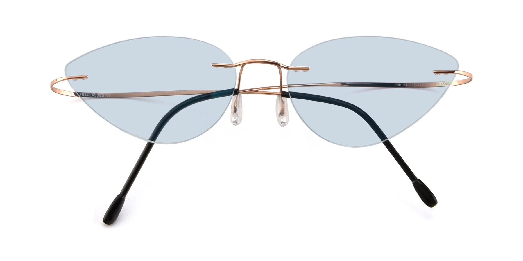 Folded Front of Pat in Rose Gold with Light Blue Tinted Lenses