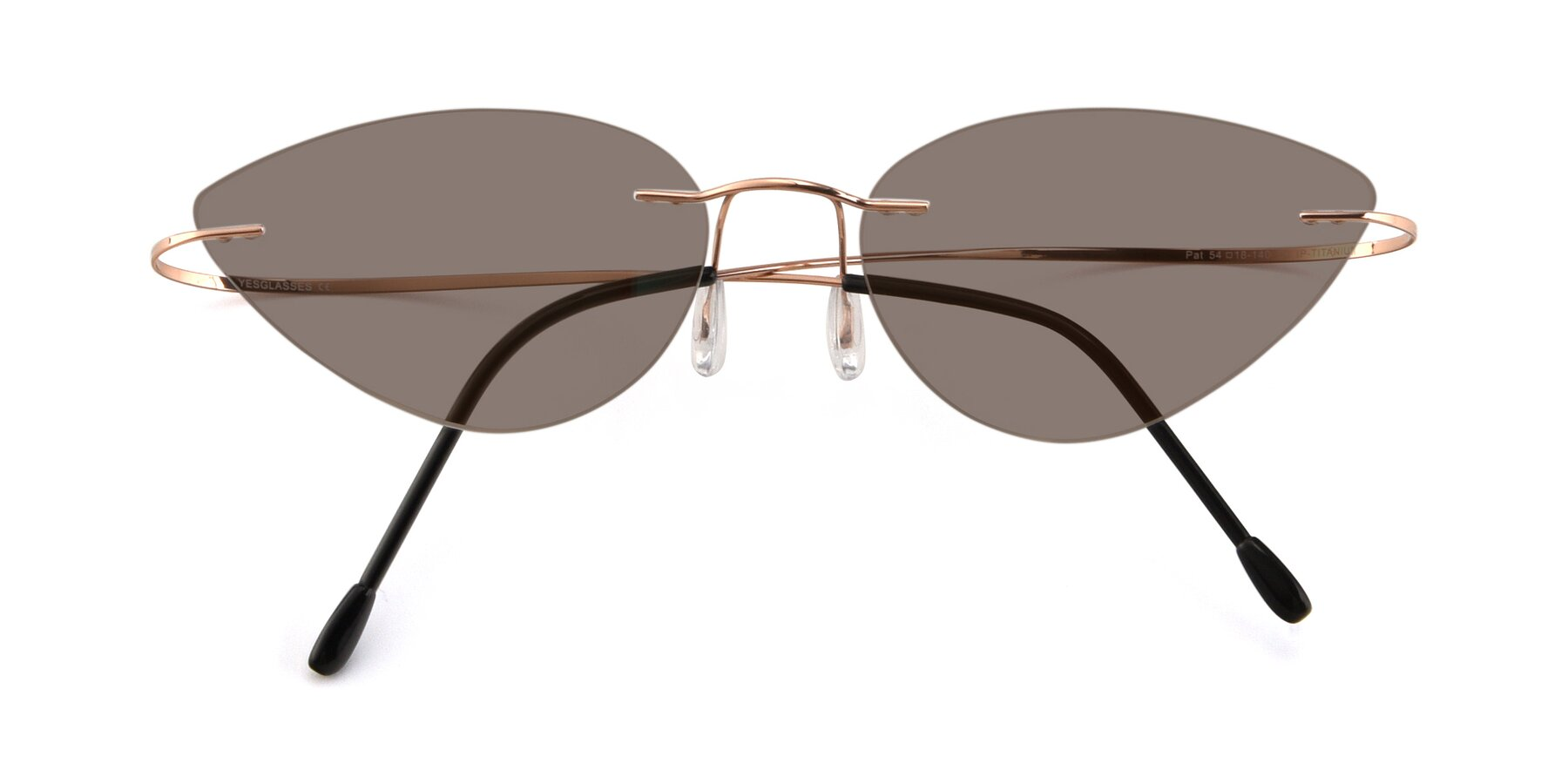 Folded Front of Pat in Rose Gold with Medium Brown Tinted Lenses