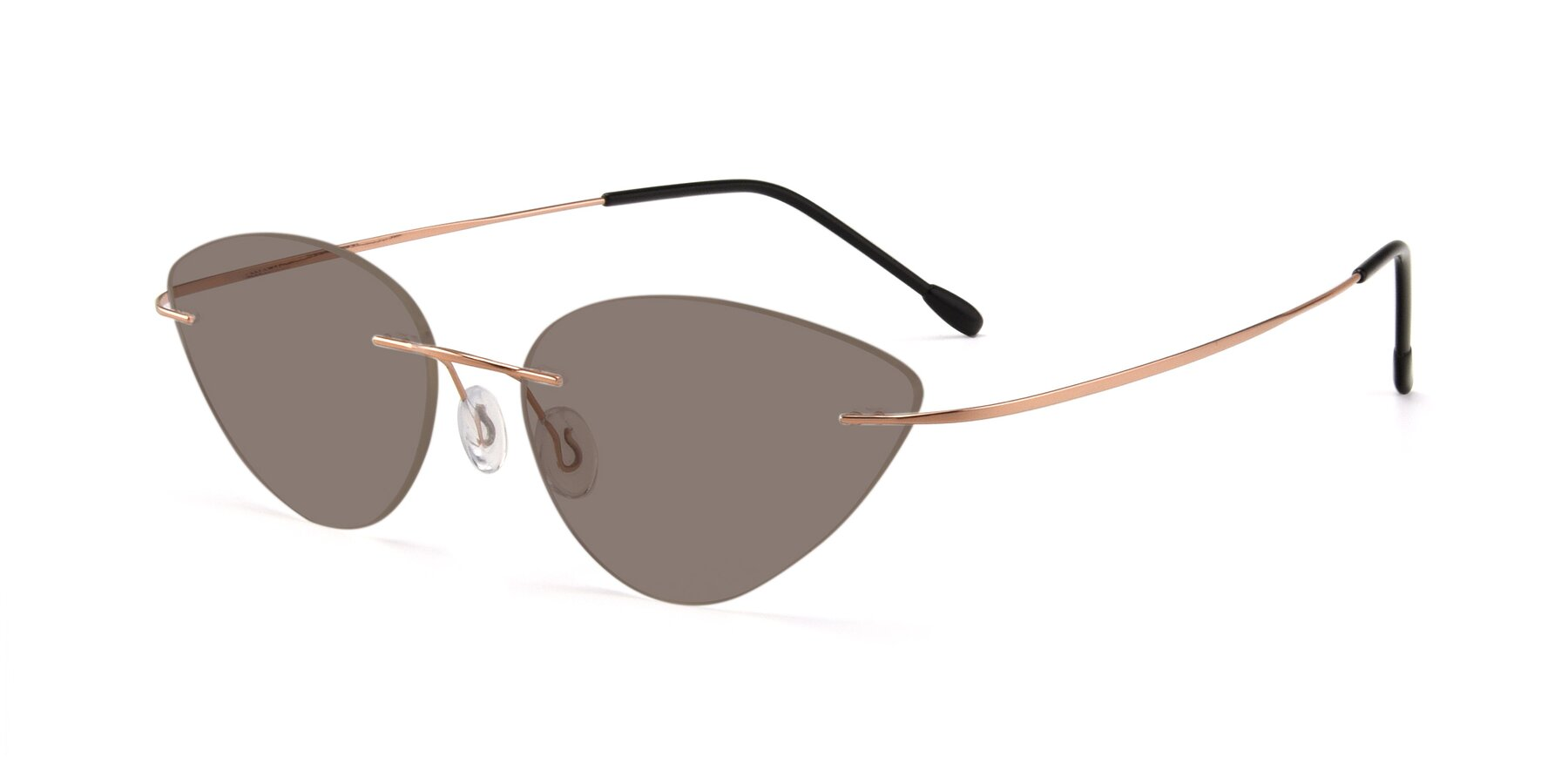 Angle of Pat in Rose Gold with Medium Brown Tinted Lenses