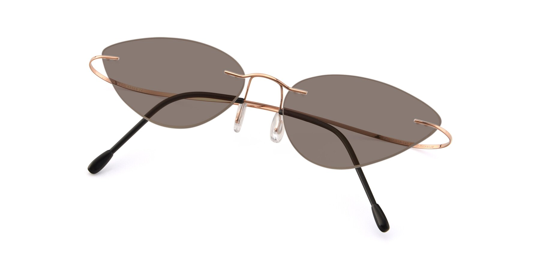 View of Pat in Rose Gold with Medium Brown Tinted Lenses