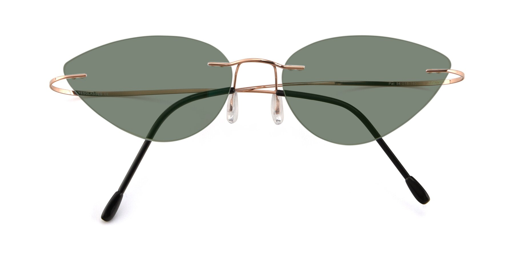 Folded Front of Pat in Rose Gold with Medium Green Tinted Lenses