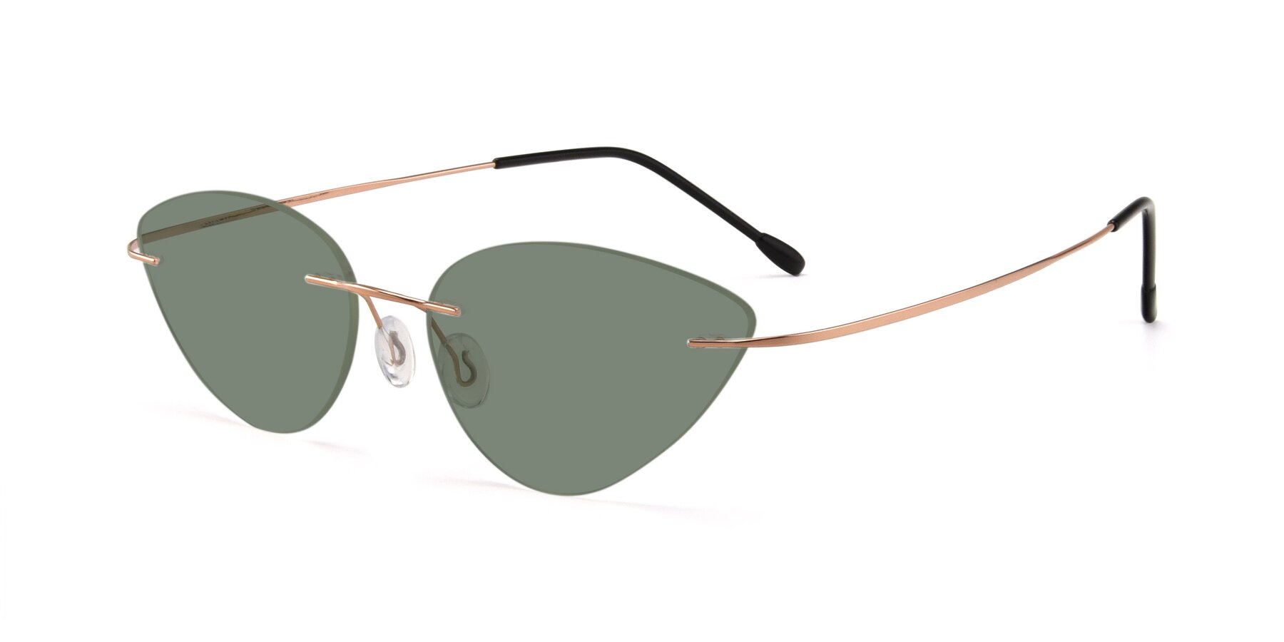 Angle of Pat in Rose Gold with Medium Green Tinted Lenses