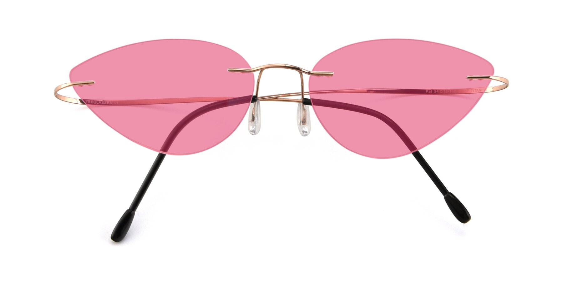 Folded Front of Pat in Rose Gold with Pink Tinted Lenses