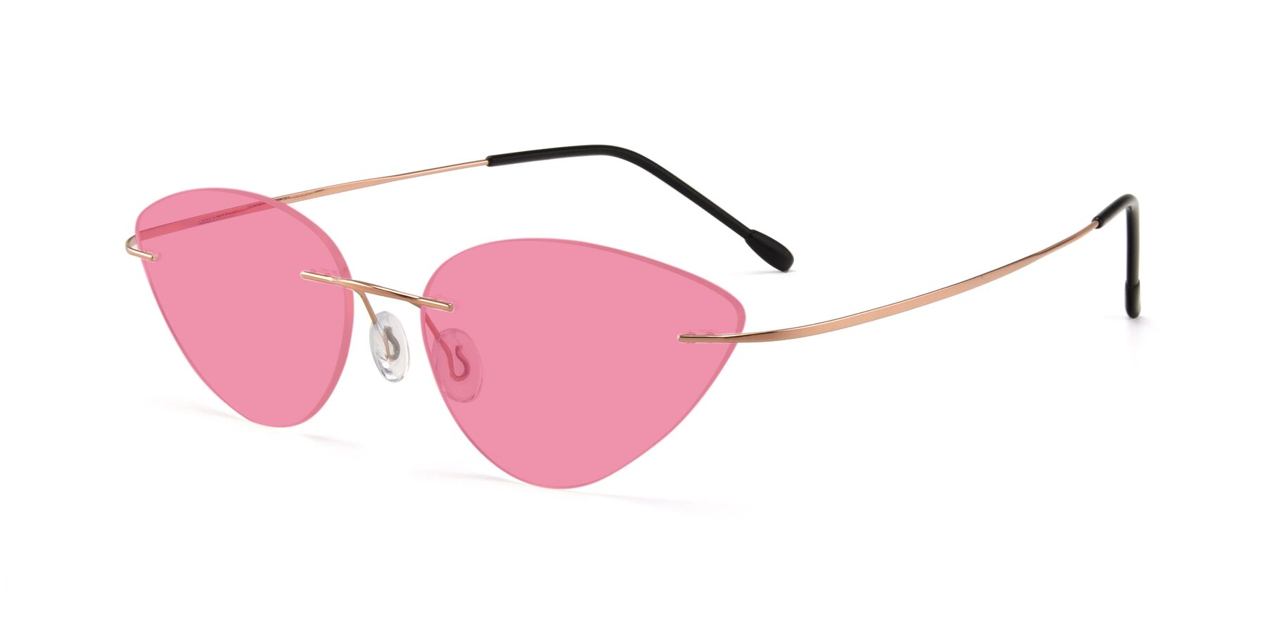 Angle of Pat in Rose Gold with Pink Tinted Lenses
