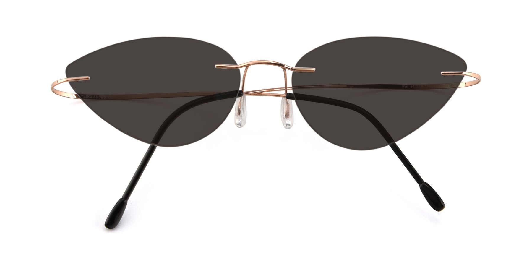Folded Front of Pat in Rose Gold with Gray Tinted Lenses