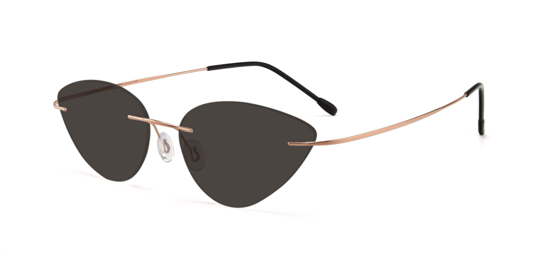 Angle of Pat in Rose Gold with Gray Tinted Lenses