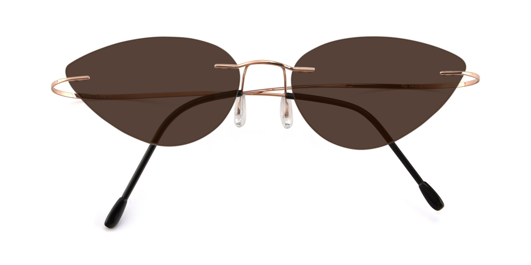 Folded Front of Pat in Rose Gold with Brown Tinted Lenses