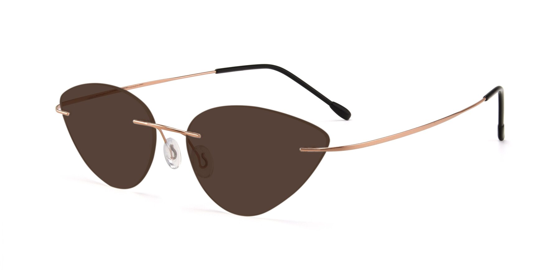 Angle of Pat in Rose Gold with Brown Tinted Lenses