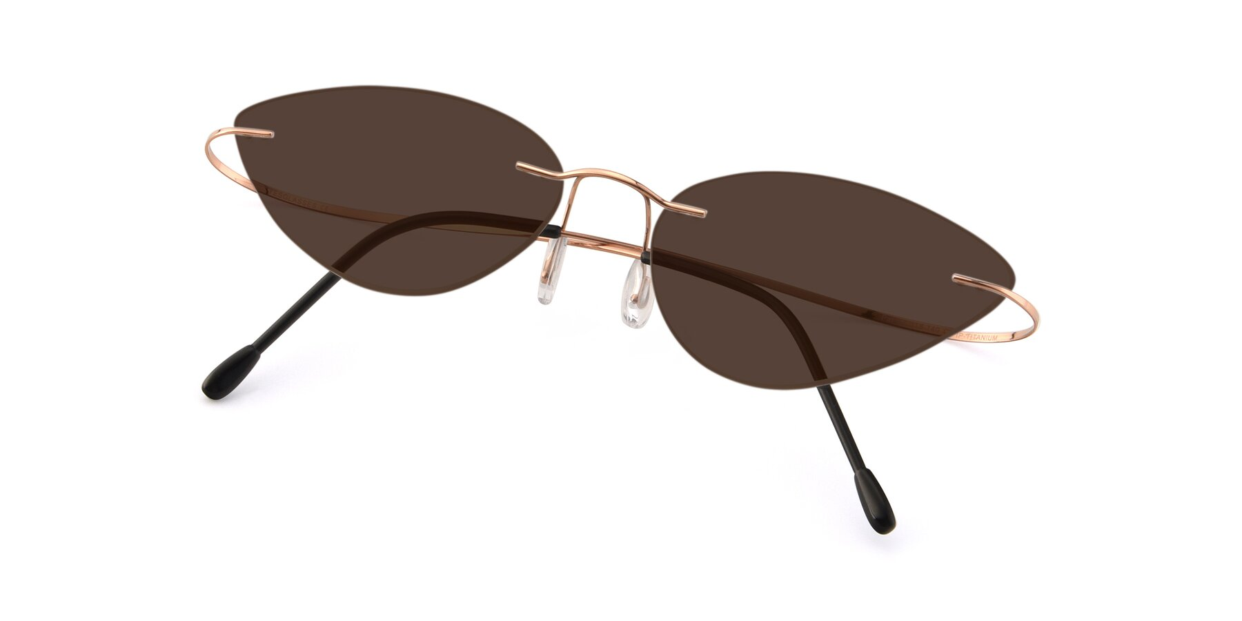 View of Pat in Rose Gold with Brown Tinted Lenses