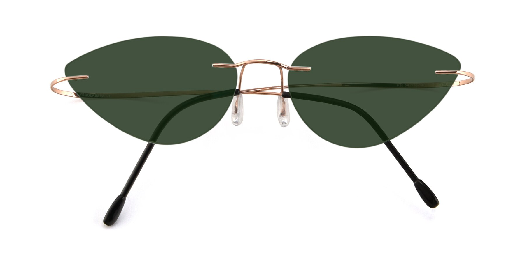 Folded Front of Pat in Rose Gold with Green Tinted Lenses