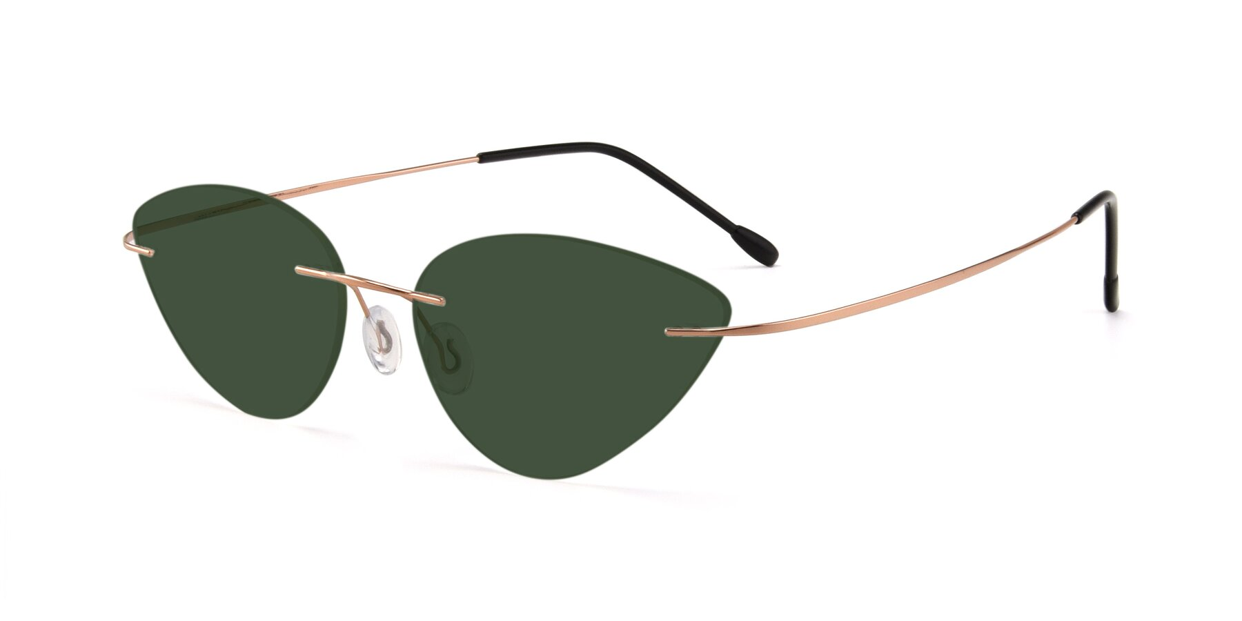 Angle of Pat in Rose Gold with Green Tinted Lenses