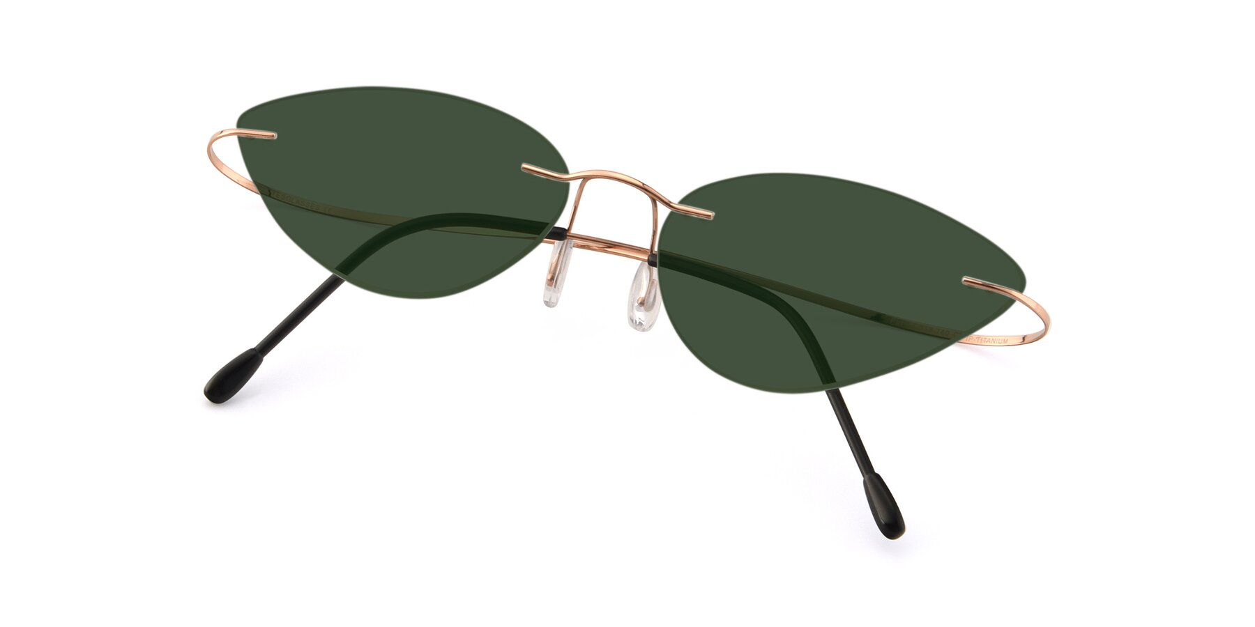 View of Pat in Rose Gold with Green Tinted Lenses