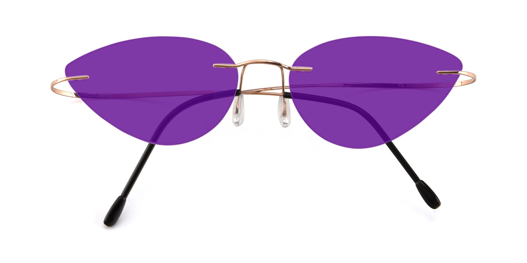 Folded Front of Pat in Rose Gold with Purple Tinted Lenses
