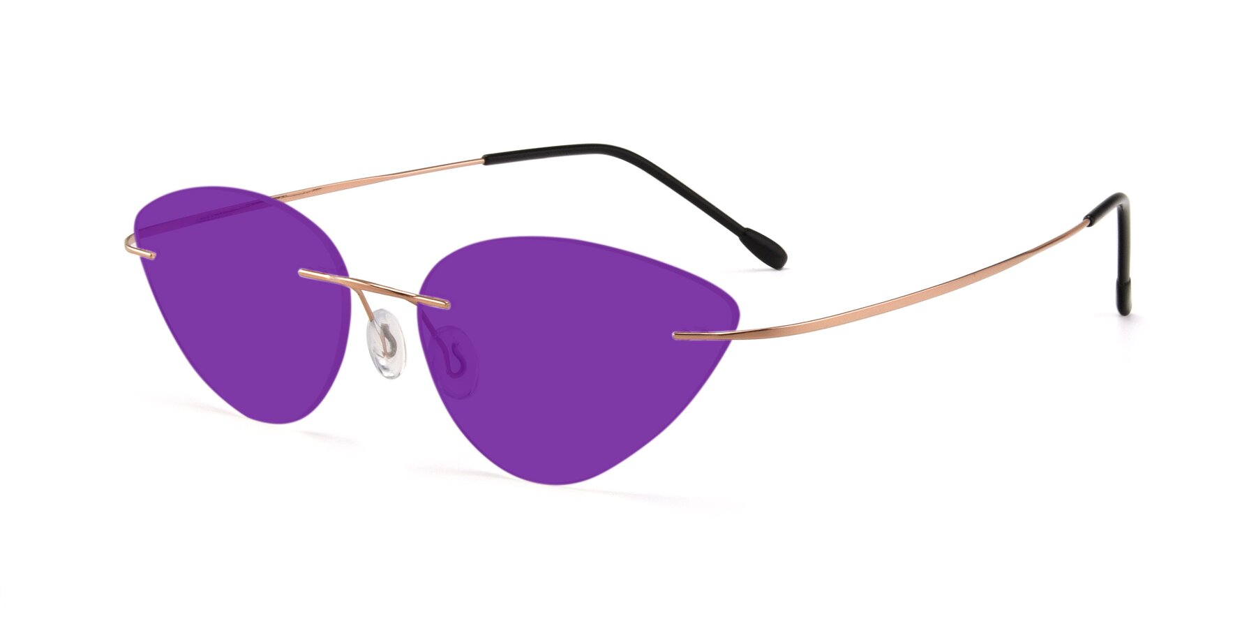 Angle of Pat in Rose Gold with Purple Tinted Lenses