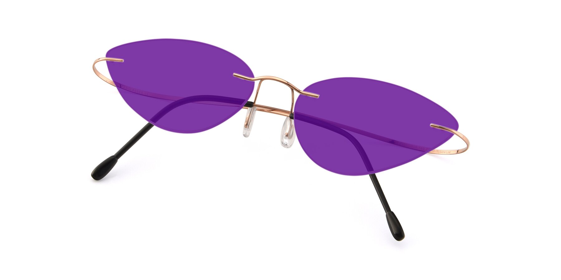 View of Pat in Rose Gold with Purple Tinted Lenses