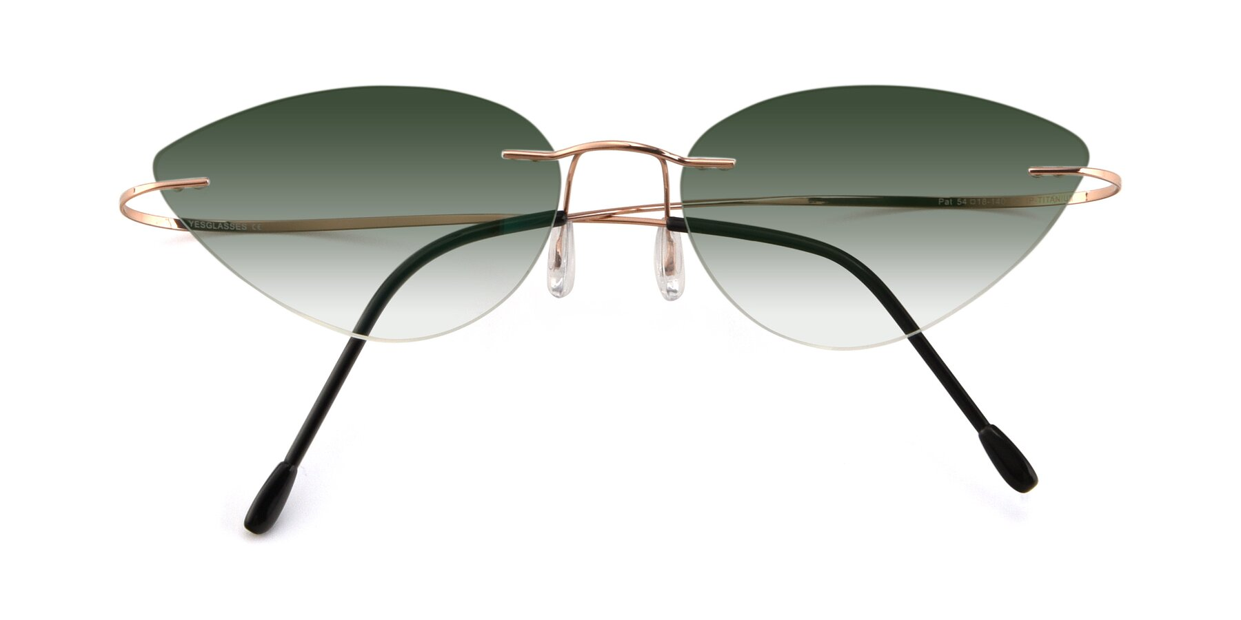 Folded Front of Pat in Rose Gold with Green Gradient Lenses