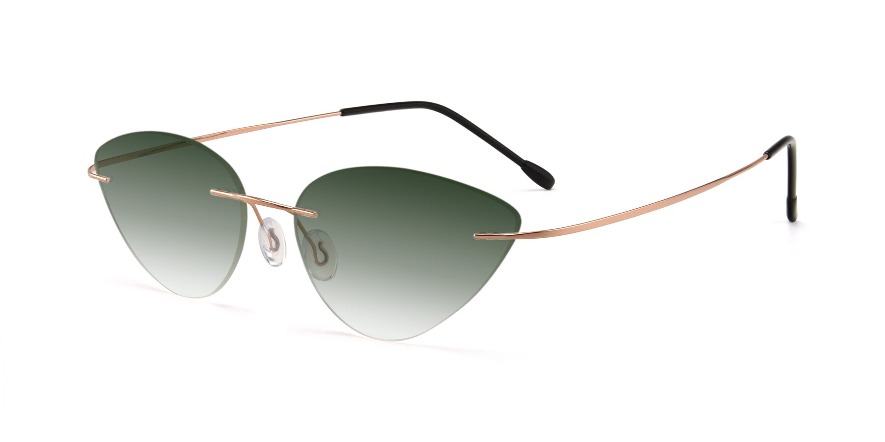 Angle of Pat in Rose Gold with Green Gradient Lenses