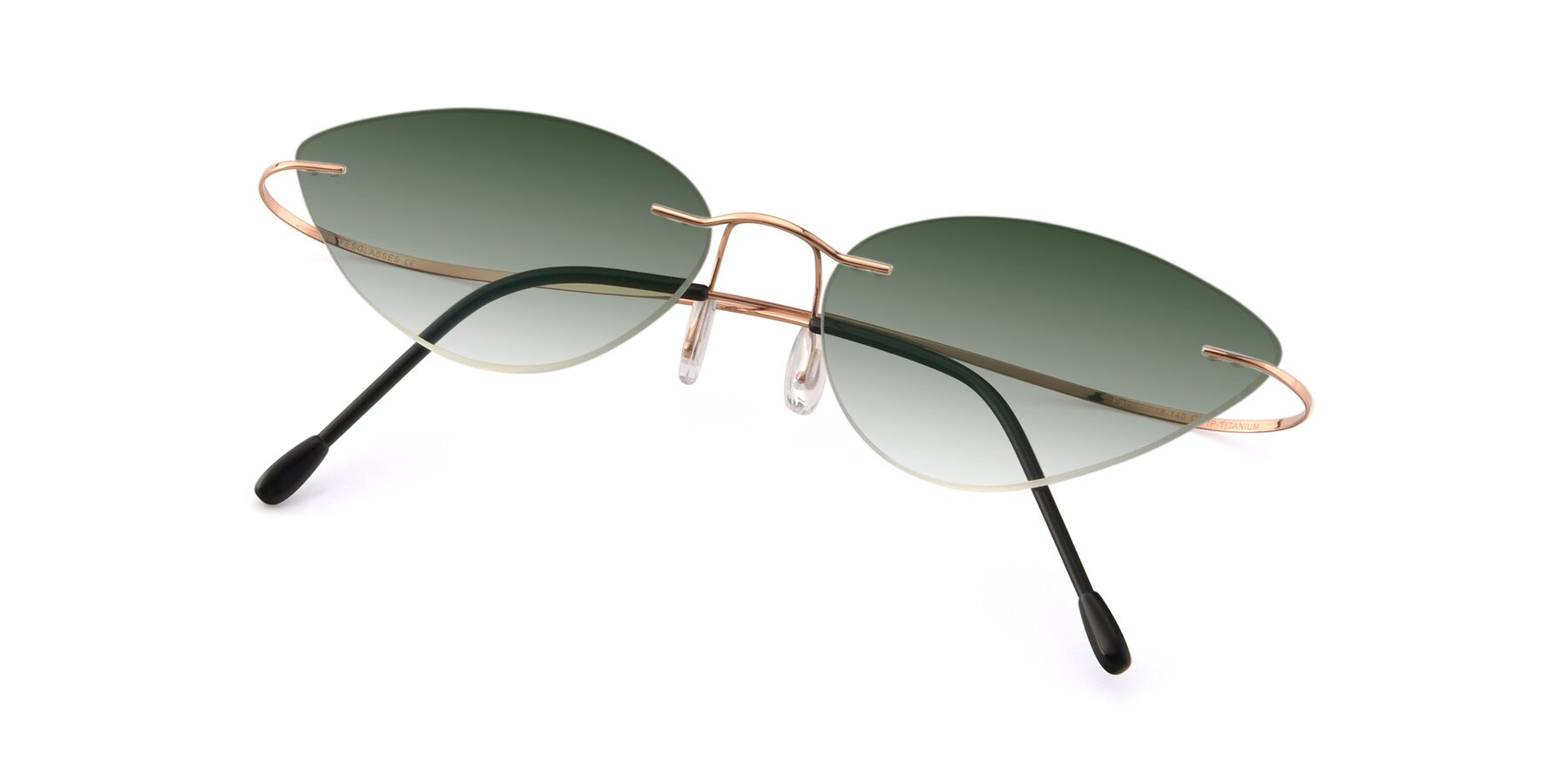View of Pat in Rose Gold with Green Gradient Lenses