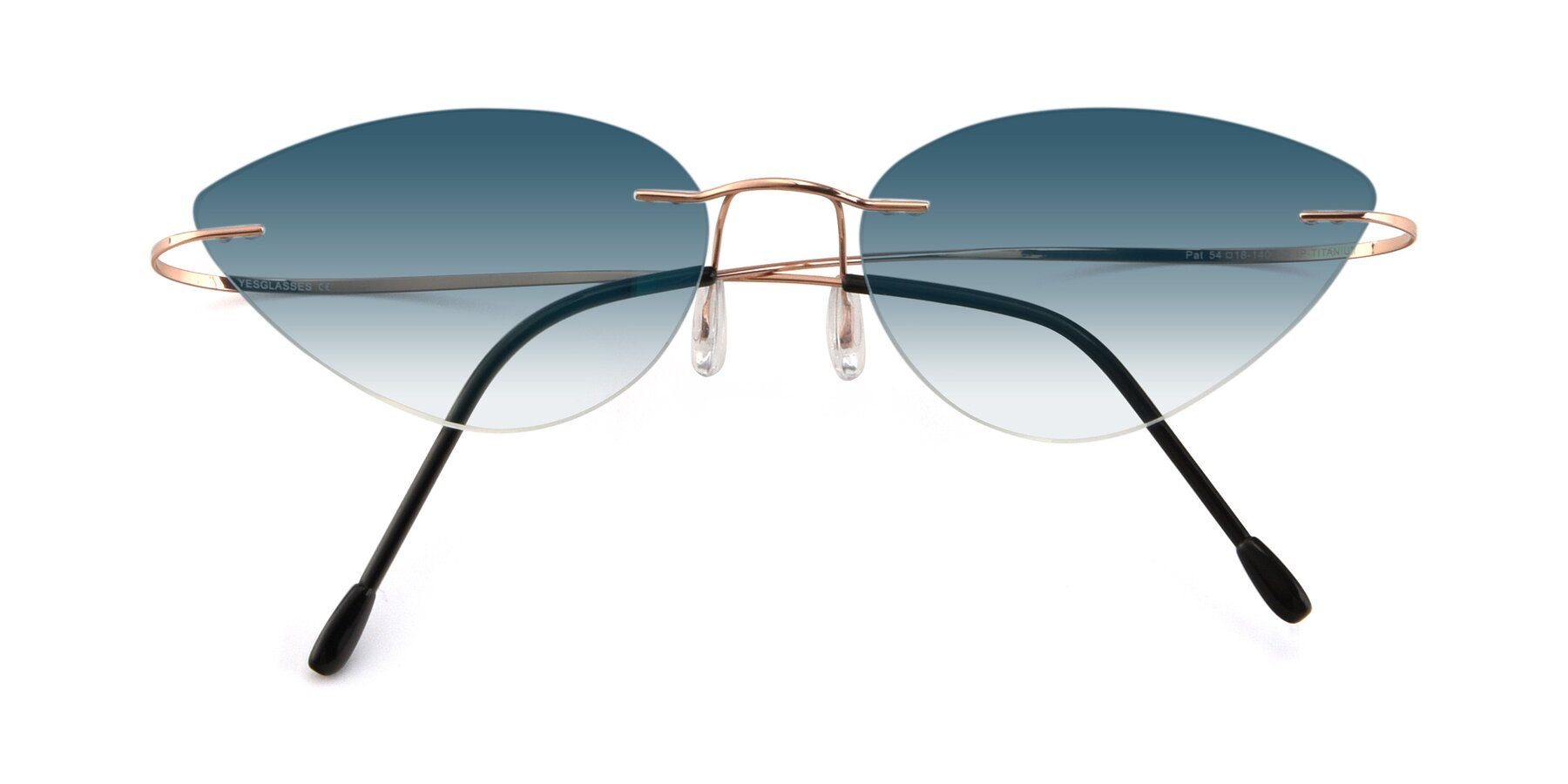 Folded Front of Pat in Rose Gold with Blue Gradient Lenses