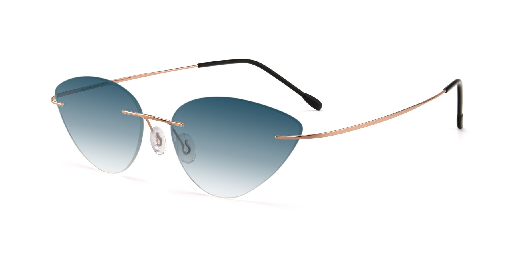 Angle of Pat in Rose Gold with Blue Gradient Lenses