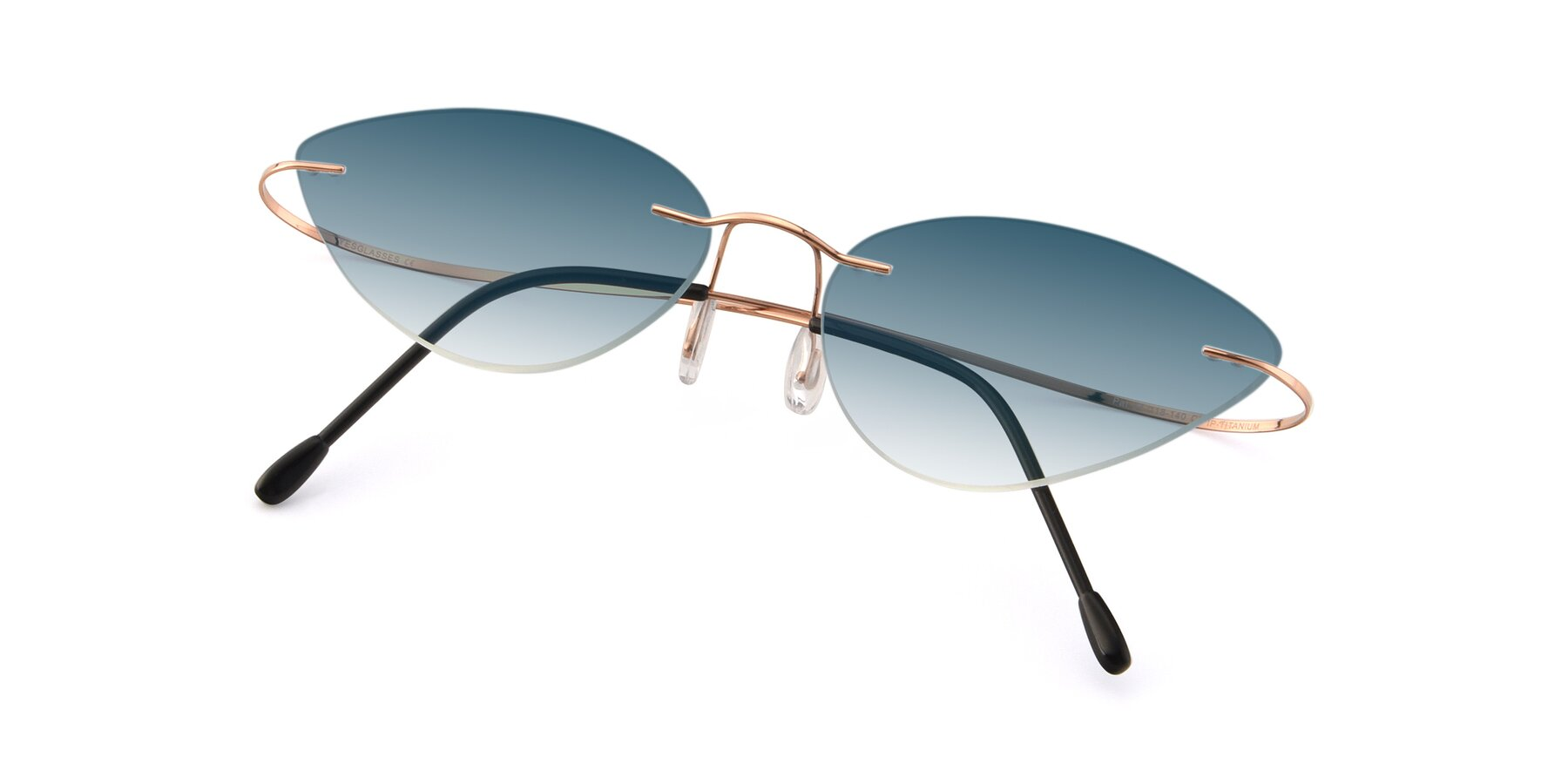 View of Pat in Rose Gold with Blue Gradient Lenses