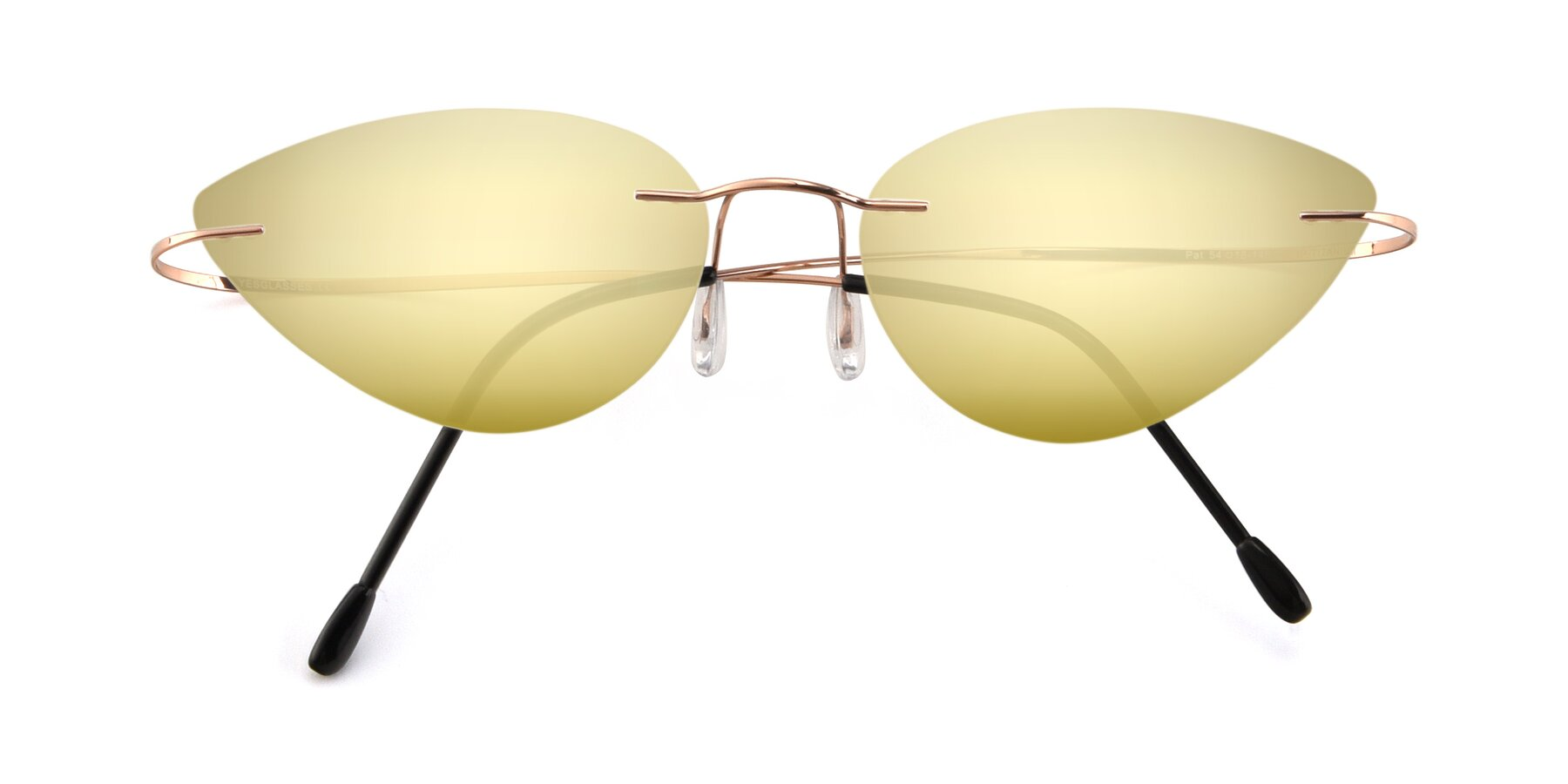Folded Front of Pat in Rose Gold with Gold Mirrored Lenses