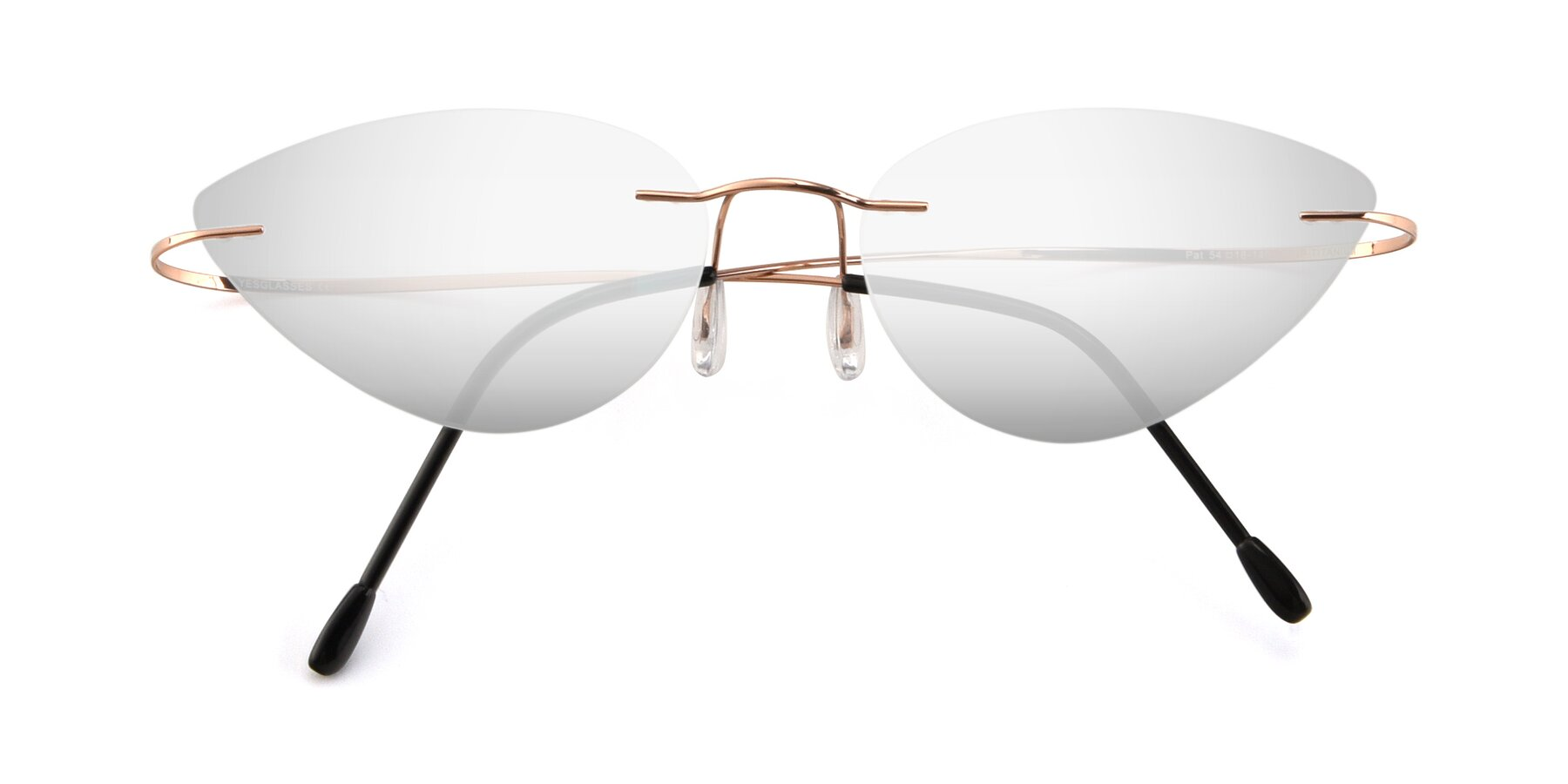 Folded Front of Pat in Rose Gold with Silver Mirrored Lenses