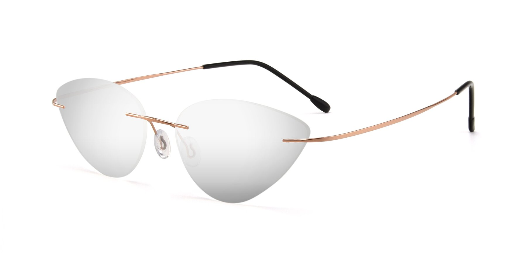 Angle of Pat in Rose Gold with Silver Mirrored Lenses