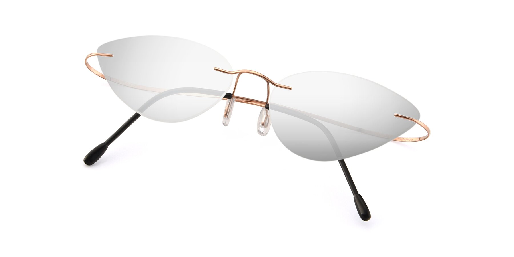View of Pat in Rose Gold with Silver Mirrored Lenses