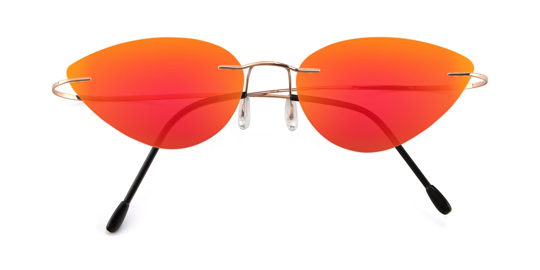 Folded Front of Pat in Rose Gold with Red Gold Mirrored Lenses