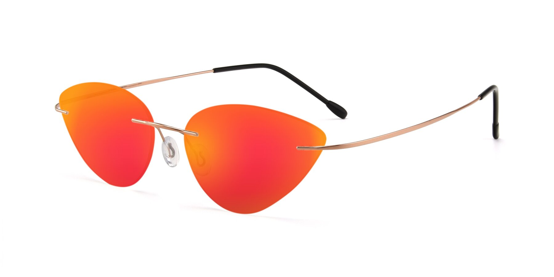 Angle of Pat in Rose Gold with Red Gold Mirrored Lenses
